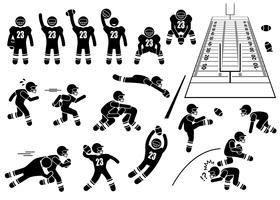 Azioni del giocatore di football americano pone icone figura stilizzata pittogramma. vettore