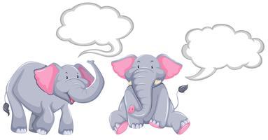 Elefanti con fumetti in bianco