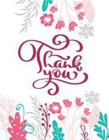 Grazie testo disegnato a mano con fiori. Preventivo lettering mano alla moda, grafica, stampa d'arte vintage per poster e design di cartoline d'auguri. Citazione isolata calligrafica. Illustrazione vettoriale