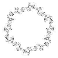 Ghirlanda decorativa di fiori di lavanda isolato su sfondo bianco, cornice rotonda disegnata a mano Doodle schizzo vettoriale a base di erbe arte grafica per biglietto di auguri, invito, progettazione di nozze, cosmetica