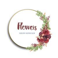 Florals dell'acquerello con il confine della cornice di testo, aquarelle dei fiori fertili dipinto a mano isolato su fondo bianco. Disegnare fiori decorativi per carta, salvare la data, inviti di nozze, poster, banner.