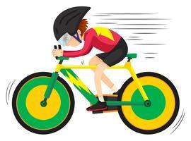 Ciclista in sella alla mountain bike vettore