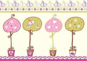 Pacchetto di alberi decorativi vettore