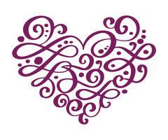Disegnato a mano cuore amore San Valentino separatore di fiori Elementi di design calligrafia. Illustrazione vettoriale vintage matrimonio isolato su sfondo bianco cornice, cuori per il vostro disegno