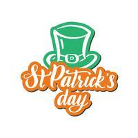 Composizione irlandese con cappello leprechaun verde, etichetta saint patrick day.