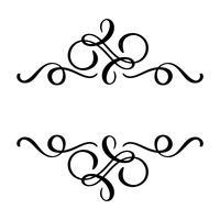 L'elemento floreale di calligrafia di vettore fiorisce, divisore disegnato a mano per la decorazione della pagina e la linea di turbinio dell'illustrazione di progettazione della struttura. Sagoma decorativa per partecipazioni di nozze e inviti. F