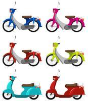 Sei scooter colorati vettore