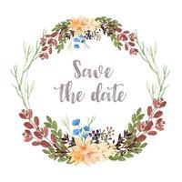 Avvolge i fiori dell'acquerello dipinti a mano con il confine della cornice di testo, aquarelle florale fertile isolato su fondo bianco. Arredamento di design per la carta, salvare la data, inviti di nozze, poster, banner.
