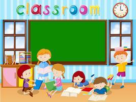 Molti studenti che leggono il libro in classe vettore