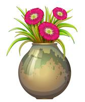 Una grande pentola con fiori vettore