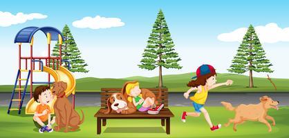 Bambini che vanno in giro nel parco vettore