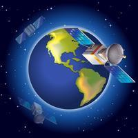 Satelliti che circondano il pianeta vettore