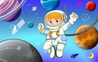Astronauta con pianeti nello spazio vettore