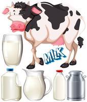 Latticini con mucca e latte fresco vettore