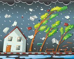 Scena di disastro naturale con l'uragano vettore