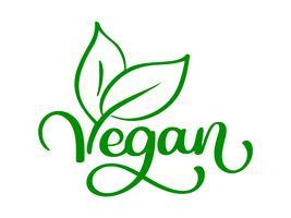 Logo di illustrazione vettoriale vegano, food design. Lettere scritte a mano per ristorante, menu crudo caffè. Elementi per etichette, loghi, badge, adesivi o icone. Collezione calligrafica e tipografica