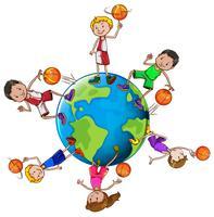 Giocatori di pallacanestro con palla intorno al mondo