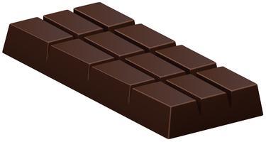 Barretta di cioccolato fondente su bianco vettore