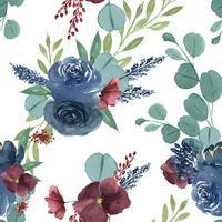 Modelli il tessuto d'annata di stile dell'acquerello lussureggiante floreale senza cuciture, aquarelle dei fiori isolato su fondo bianco. Disegnare fiori decorativi per carta, salvare la data, inviti di nozze, poster, banner.