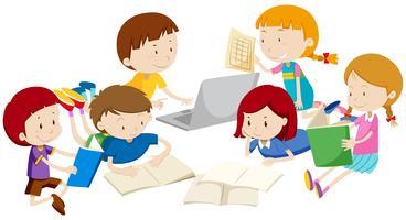 Gruppo di bambini che imparano vettore