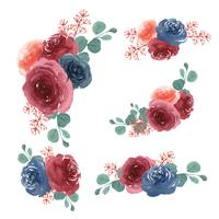 Acquerello di stile dell'annata llustration lussureggiante dipinto a mano di florals dei mazzi dei fiori dell'acquerello isolato su fondo bianco. Arredamento di design per la carta, salvare la data, inviti di nozze, poster, banner vettore