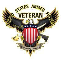 Il veterano delle forze armate degli Stati Uniti ha servito fiero l'illustrazione di vettore dell'aquila calva