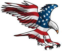 Illustrazione patriottica di vettore di Eagle della bandiera americana volante