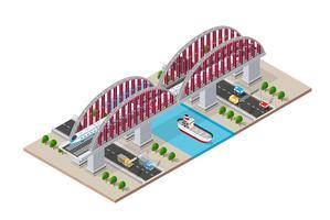 Ponte isometrico della ferrovia vettore
