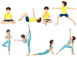 Diverse pose yoga vettore