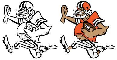 Illustrazione divertente del grafico di vettore del fumetto del giocatore di football americano