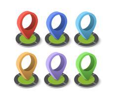 Icona pin isometrica sulla mappa di navigazione vettore