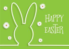 Sfondo di Pasqua con contorno di coniglietto e margherite vettore