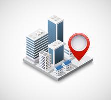 Icona pin isometrica sulla mappa di navigazione