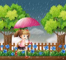 Ragazza che corre sotto la pioggia vettore