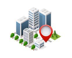 Perno del perno della mappa della città di navigazione in isometrico