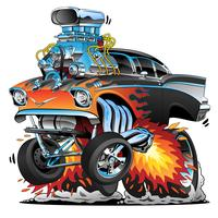 Classic hot rod anni '50 stile gasser drag racing muscle car, red hot flame, grande