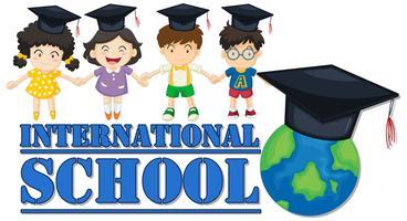 Banner di scuola internazionale con quattro bambini vettore