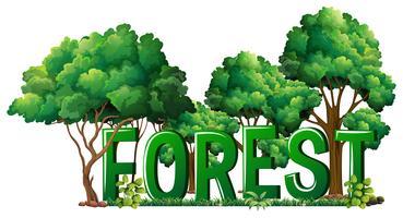 Progettazione di font per la foresta di parole vettore