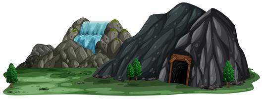 Una caverna di estrazione mineraria su priorità bassa bianca vettore