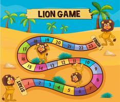 Modello di gioco da tavolo con i leoni nel deserto vettore