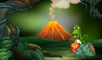 Scena del vulcano con drago che soffia fuoco vettore