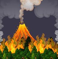Eruzione della scena di volanco e del fuoco