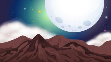 Scena della natura con montagne di notte