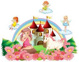 Fate e unicorno nel giardino del palazzo vettore