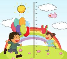 Grafico di mearsuring di crescita con ragazza e ragazzo nel parco vettore