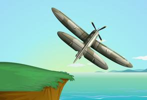 Aeroplano dell'esercito che sorvola l'oceano