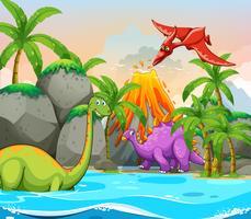 Dinosauro nella natura vettore