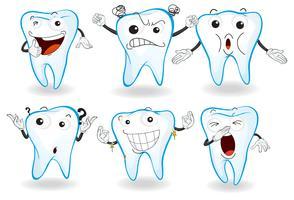 Denti umani con espressioni facciali vettore