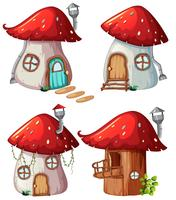 Set di casa dei funghi vettore