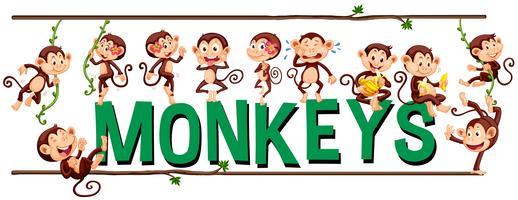 Progettazione di caratteri per scimmie di parole vettore